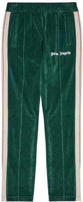 Palm Angels Green striped velour sweatpants