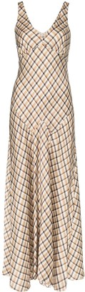 Paco Rabanne sleeveless check maxi dress