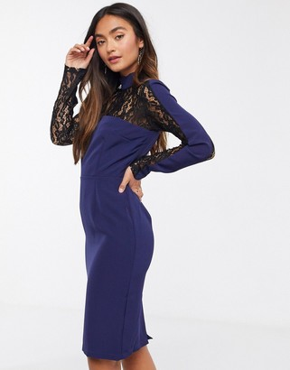 Paper Dolls high neck pencil dress with contrast lace insert in navy