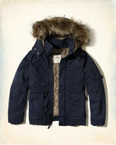 Hollister Faux Fur Lined Twill Bomber Jacket