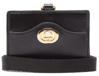 Gucci Marina Gg Leather Cardholder Strap - Womens - Black