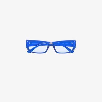 Balenciaga Eyewear Blue rectangular logo sunglasses