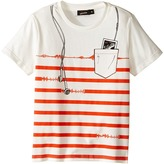 Junior Gaultier Striped Short Sleeve Tee Shirt with ipod Print Boy's T Shirt
