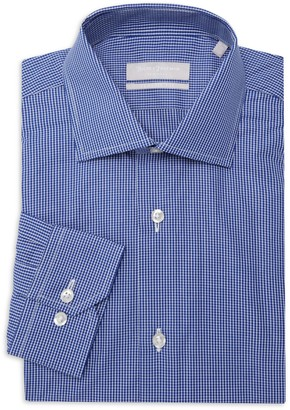 Hickey Freeman Classic-Fit Fine-Check H.F. Sil Dress Shirt