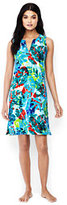 Lands' End Women's Petite Sleeveless Cotton Jersey Cover-up-Deep Sea Tropical Leaf