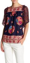 Anna Sui Bouquet Scarf Print Silk Mesh Blouse