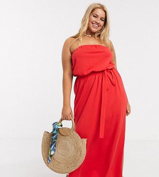 Asos DESIGN Curve bandeau maxi dress with belt in red