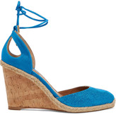 Aquazzura Palm Beach glittered faux-leather and metallic suede wedge espadrilles