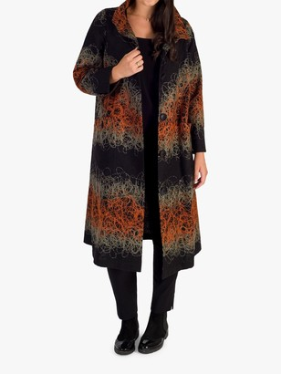 Chesca Floral Embroidered Coat, Black/Orange/Grey