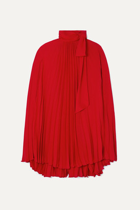 Valentino Pussy-bow Cape-effect Pleated Georgette Mini Dress - Red