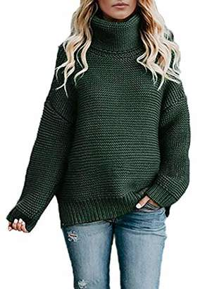 Actloe Women Casual Turtleneck Long Sleeve Chunky Knitted Pullover Sweaters Color Block
