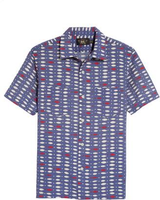 Ralph Lauren RRL Duke Fish Print Cotton Camp Shirt