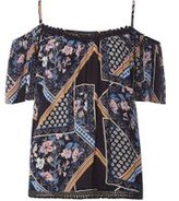 Dorothy Perkins Womens Floral Mix Print Cold Shoulder Top- Blue