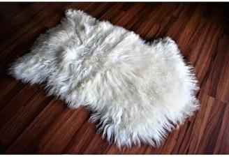 "Cabe Animal Print Handmade 2'2"" x 3' Sheepskin Cream Indoor / Outdoor Area Rug Millwood Pines"