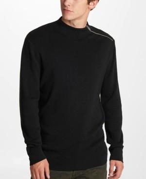Karl Lagerfeld Paris Men's Zip Mock Neck Sweater