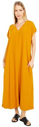 Eileen Fisher V-Neck Full-Length Dress (Goldenrod) Women's Dress