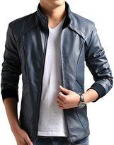ZSHOW Men's Add Wool PU Faux Leather Moto Jacket Casual Wear Daek Blue Jacket
