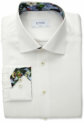 Eton Mens Slim Fit Solid Floral Cuff Detail Shirt White 16.5