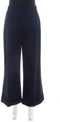 Escada Navy Blue Stretch Wool Crepe High Waist Wide Leg Trousers XL