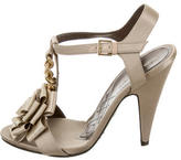 Alberta Ferretti Satin Buckled Sandals