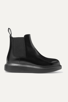 Alexander McQueen Glossed-leather Exaggerated-sole Chelsea Boots - Black