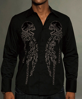 Rebel Spirit Black 'Rebel Spirit' Skulls Embroidery Button-Up - Men's Regular