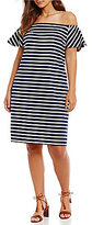 Lauren Ralph Lauren Plus Striped Off-the-Shoulder-Dress