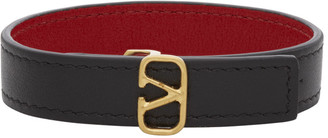Valentino Reversible Black and Red Garavani VLogo Bracelet