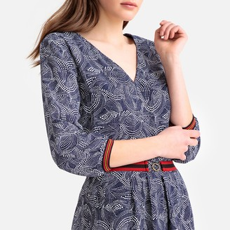 Kaporal Flared Printed Dress with Coloured Trim