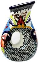 Authentic Talavera Ceramic Floral 47-oz Pitcher from Puebla, 'Blue Teziutlan'