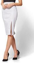New York & Co. 7th Avenue - Front Slit Pencil Skirt - Modern - White Polka Dot