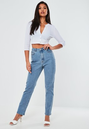 Missguided Petite Blue Highwaisted Stretch Straight Leg Jeans