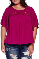 Boutique + Boutique+ Elbow-Sleeve Lace-Yoke Knit Top
