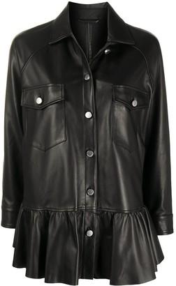 RED Valentino Ruffle-Hem Leather Swing Coat