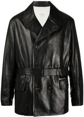 Maison Margiela Double-Breasted Belted Leather Jacket
