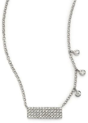 Meira T Diamond & 14K White Gold Bar Pendant Necklace