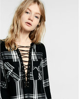 Express black and white plaid lace-up shirt