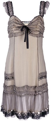 Prada Pre Owned Striped Gathered Dress