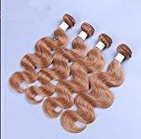 Wigsforyou@Honey blonde brazilian hair weave color #27 1 bundle 8-26 inch cheap brazilian virgin hair body wave ombre remy hair