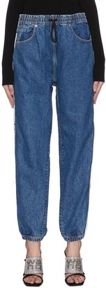 Alexander Wang 'Deep Blue' logo tape drawstring jeans
