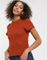Asos Design DESIGN fitted t-shirt in waffle with cap sleeve