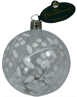 clear Christmas Shop 8 Cm Ball Painted White Floral