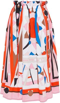 Emilio Pucci Pleated Printed Cotton-blend Poplin Skirt