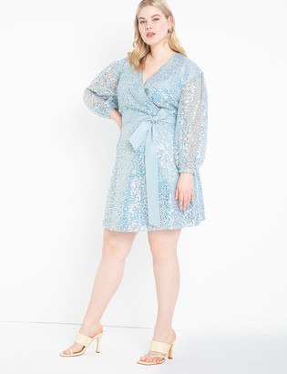 ELOQUII Belted Sequin Lace Dress
