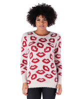 Missy Empire Renna Cream Fluffy Lip Knitted Jumper