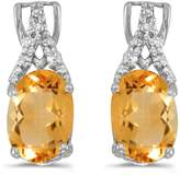 Direct-Jewelry 14k White Gold Oval Citrine And Diamond Earrings