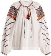 VITA KIN Romania embroidered mid-weight linen blouse