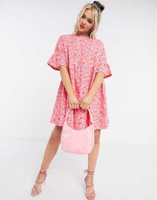 ASOS DESIGN mini smock dress with frill sleeve in red and pink floral print