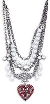 Gerard Yosca Faux Pearl and Crystal Heart Pendant Statement Necklace