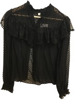LoveShackFancy Black Silk Top for Women